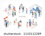 people walking among commercial ... | Shutterstock .eps vector #1110112289