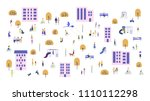 crowd of tiny people walking... | Shutterstock .eps vector #1110112298