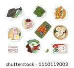 collection of tasty meals of... | Shutterstock .eps vector #1110119003