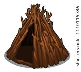 a hut made of dry branches of... | Shutterstock .eps vector #1110119786