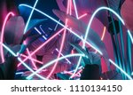 neon glowing abstract lights on ... | Shutterstock . vector #1110134150