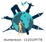 woman traveler with suitcase on ... | Shutterstock .eps vector #1110139778