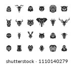 24 animal head icons. unique... | Shutterstock .eps vector #1110140279