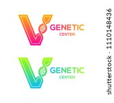 letter v colorful with dna... | Shutterstock .eps vector #1110148436