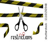 the scissors cut the tape... | Shutterstock .eps vector #1110150548