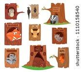 animals in hollow vector... | Shutterstock .eps vector #1110158540