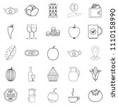 continental breakfast icons set.... | Shutterstock . vector #1110158990