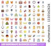 100 handmade business icons set....   Shutterstock . vector #1110162626