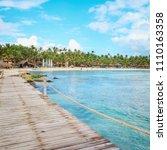 sunny panorama of dominicus... | Shutterstock . vector #1110163358
