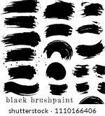 set of black ink brush stains... | Shutterstock .eps vector #1110166406