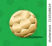 gold football ball realistic... | Shutterstock .eps vector #1110168614