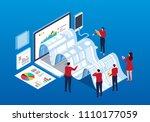 businessmen doing data report... | Shutterstock .eps vector #1110177059