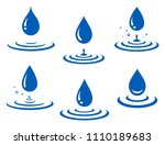 set of blue water drop and... | Shutterstock .eps vector #1110189683