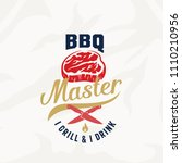 bbq master vintage vector label ... | Shutterstock .eps vector #1110210956
