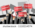 crowd of people protesters.... | Shutterstock .eps vector #1110214574