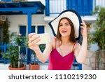 europe travel selfie  cute... | Shutterstock . vector #1110219230
