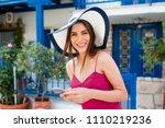 europe travel selfie  cute... | Shutterstock . vector #1110219236