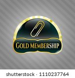 gold badge with paper clip... | Shutterstock .eps vector #1110237764