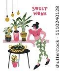 fashionable girl  light bulbs   ... | Shutterstock .eps vector #1110240128