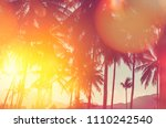 tropical palm tree with... | Shutterstock . vector #1110242540