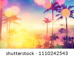 tropical palm tree with... | Shutterstock . vector #1110242543
