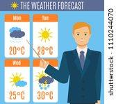 cartoon tv weather forecast... | Shutterstock .eps vector #1110244070