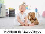 adorable baby girl with cute... | Shutterstock . vector #1110245006