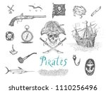 set of vector hand drawn... | Shutterstock .eps vector #1110256496