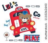 happy cute teddy bear cartoon... | Shutterstock .eps vector #1110262643