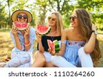 three nice girls having fun... | Shutterstock . vector #1110264260