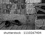 old man's old slippers in a... | Shutterstock . vector #1110267404