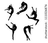 Five Black Silhouettes Dancing...