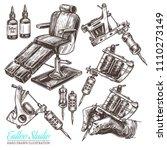 hand drawn vector tattoo studio ... | Shutterstock .eps vector #1110273149