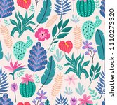 seamless pattern with tropical... | Shutterstock .eps vector #1110273320