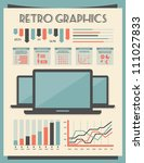 retro vector set of infographic ... | Shutterstock .eps vector #111027833