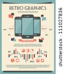 retro vector set of infographic ... | Shutterstock .eps vector #111027836