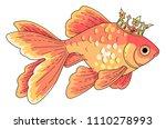 goldfish at gold crown. cartoon ... | Shutterstock .eps vector #1110278993