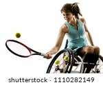 one caucasian young handicapped ... | Shutterstock . vector #1110282149