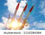 three missiles on the... | Shutterstock . vector #1110284384