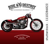vintage chopper motorcycle... | Shutterstock .eps vector #1110286823
