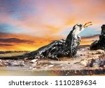 portrait of seagull body on...   Shutterstock . vector #1110289634