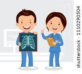 doctors holding x ray film | Shutterstock .eps vector #1110290504
