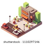 vector isometric kebab shop or... | Shutterstock .eps vector #1110297146