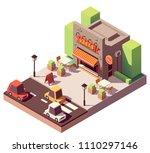 vector isometric kebab shop or... | Shutterstock .eps vector #1110297146
