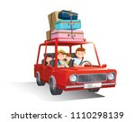 family road trip. travel by car ... | Shutterstock .eps vector #1110298139
