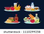 daily diet meals  healthy food... | Shutterstock .eps vector #1110299258