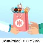 pharmacist gives bag with... | Shutterstock .eps vector #1110299456