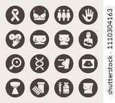 breast cancer icon set | Shutterstock .eps vector #1110304163