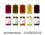 glass jars with with jam or... | Shutterstock .eps vector #1110332153