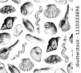 shells hand painted seamless... | Shutterstock .eps vector #1110333896
